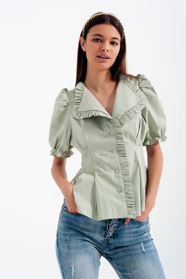 Poplin frill detail wrap blouse in green