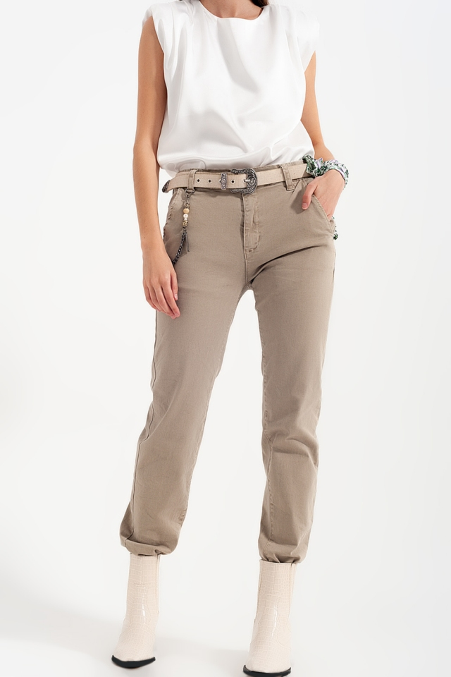 Cuffed utility pants with chain in beige