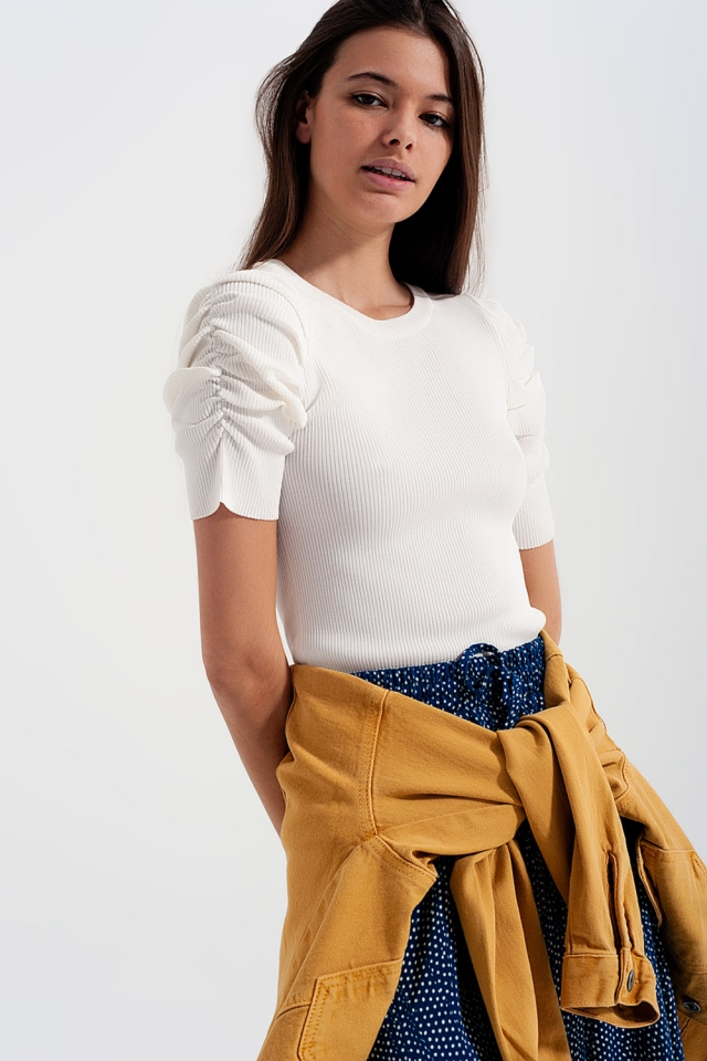 Knitted top with balloon sleeves in Cream