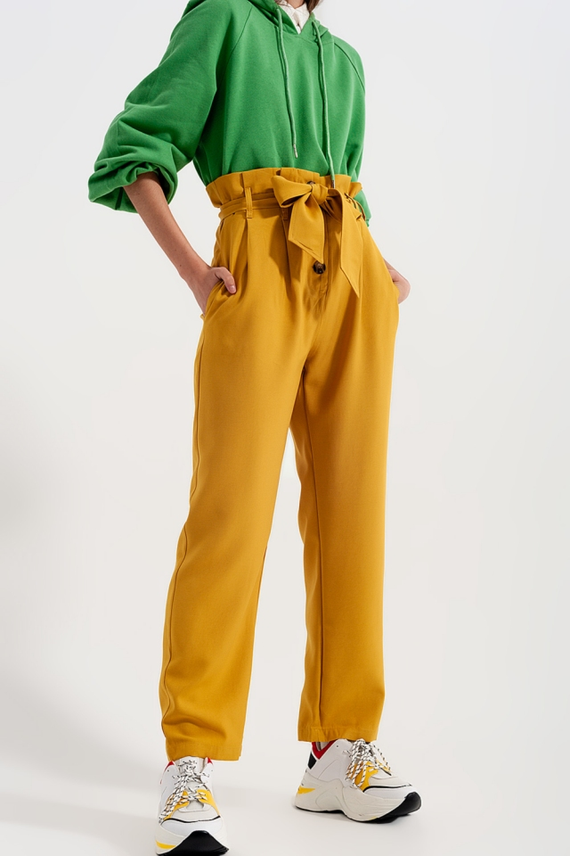 High waist belted paperbag trousers in yellow