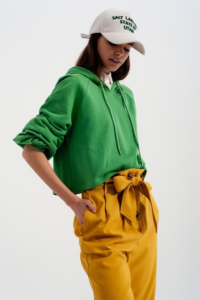 kurzer Kapuzenpullover in grün mit tiefem V-Ausschnitt