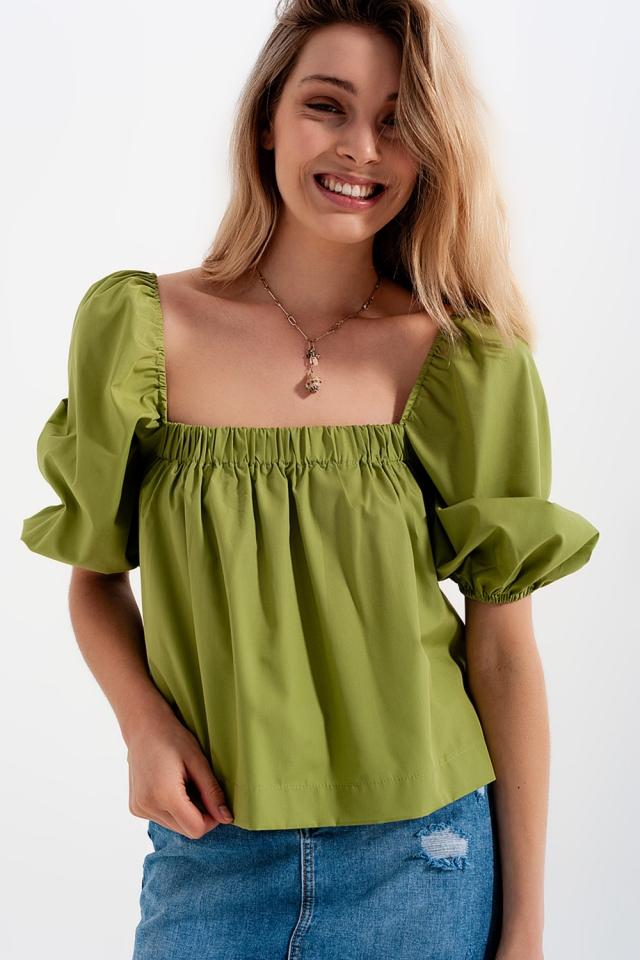 Poplin balloon sleeve top in green