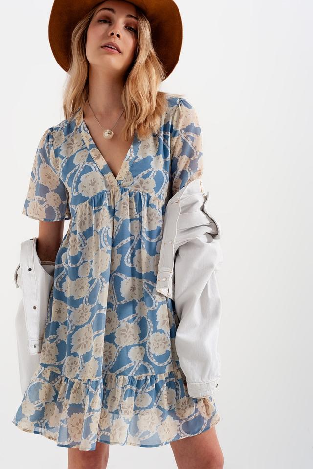 Babydoll mini dress in blue floral