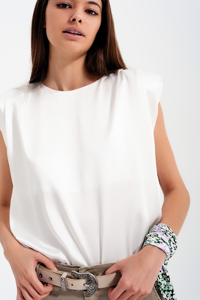 Gathered satin shoulder pad sleeveless top in white