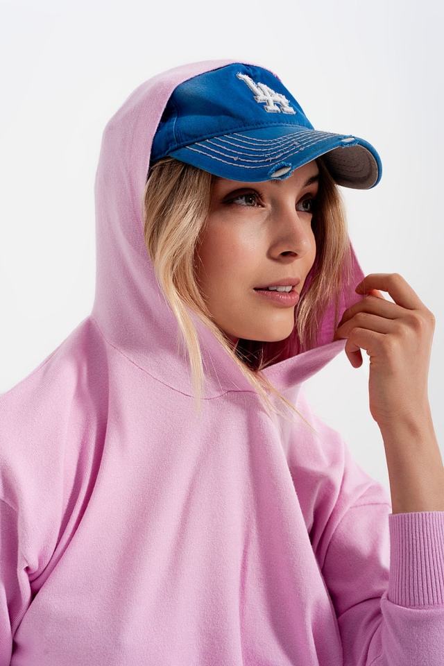 Pink long sleeve hooded sweater