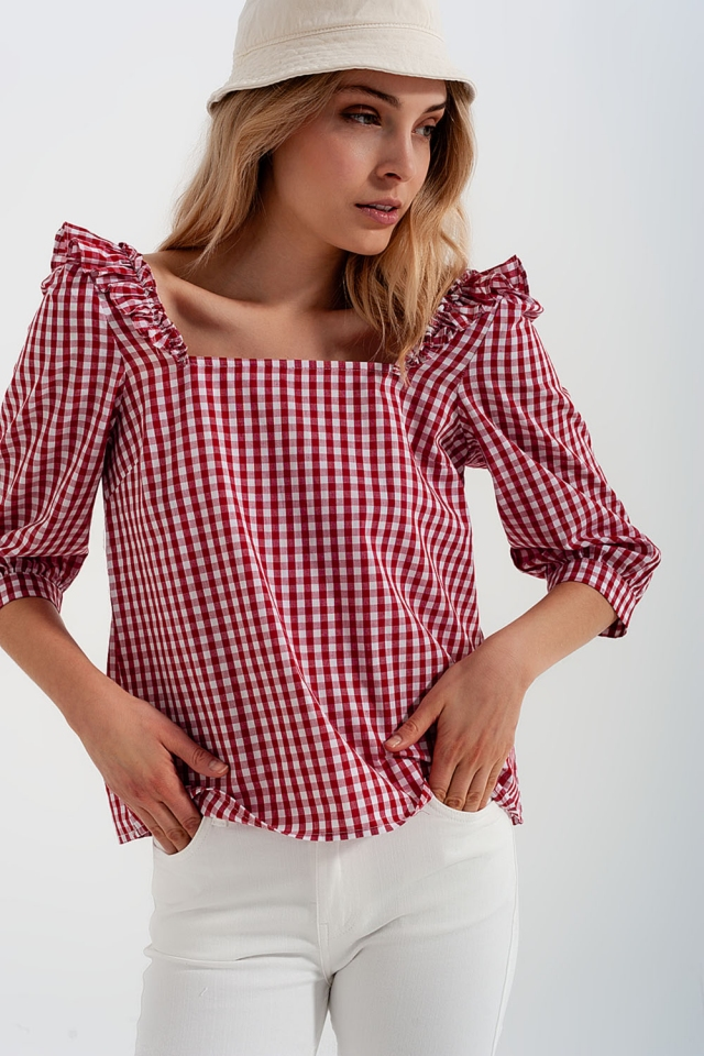 Check square neck top in red