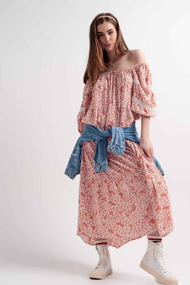 Fallen shoulder maxi dress in coral printed floral