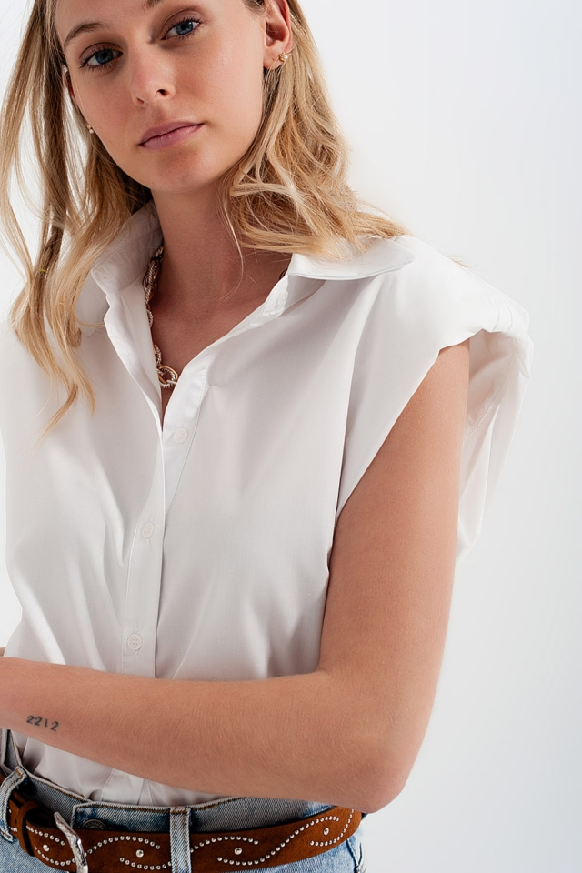Button down tank top with shoulder pads in white