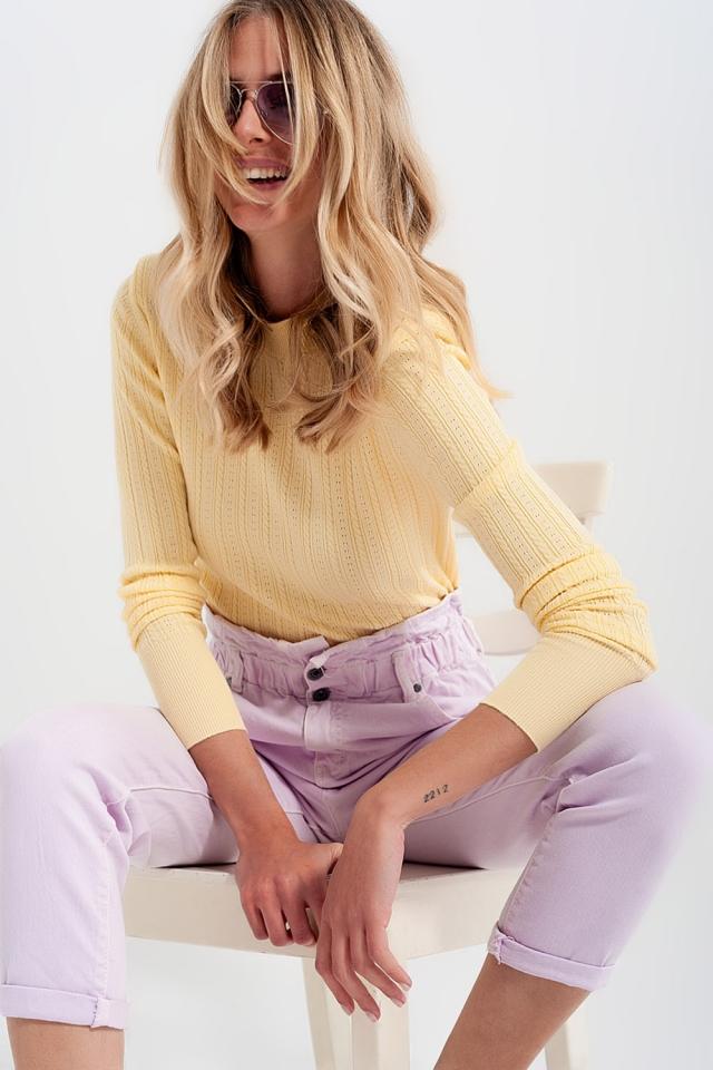 Pullover mit gepolsterter Schulterpartie in gelb