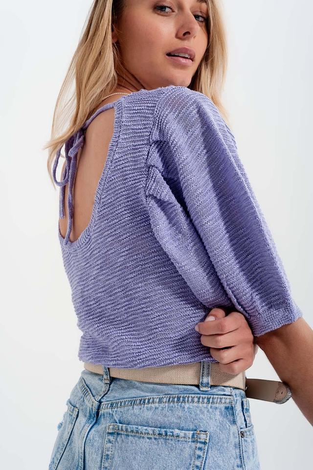 Kurzärmliges Strickoberteil in violette
