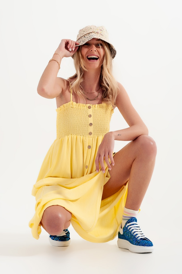 shirred bust maxi yellow dress with pockets