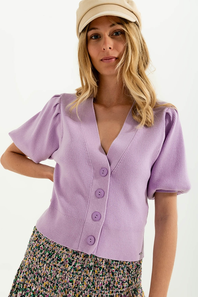 Volume sleeve cardigan in lilac