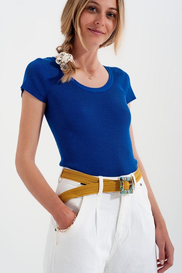 Geripptes T-Shirt mit Rundhalsausschnitt in Blau