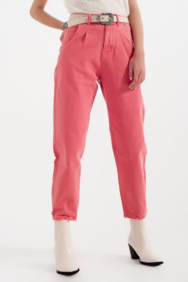 High rise mom jeans with pleat front in pink
