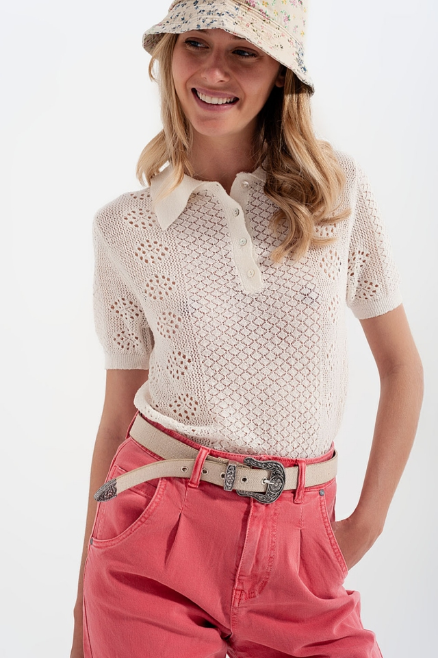Knitted polo with button detail in cream