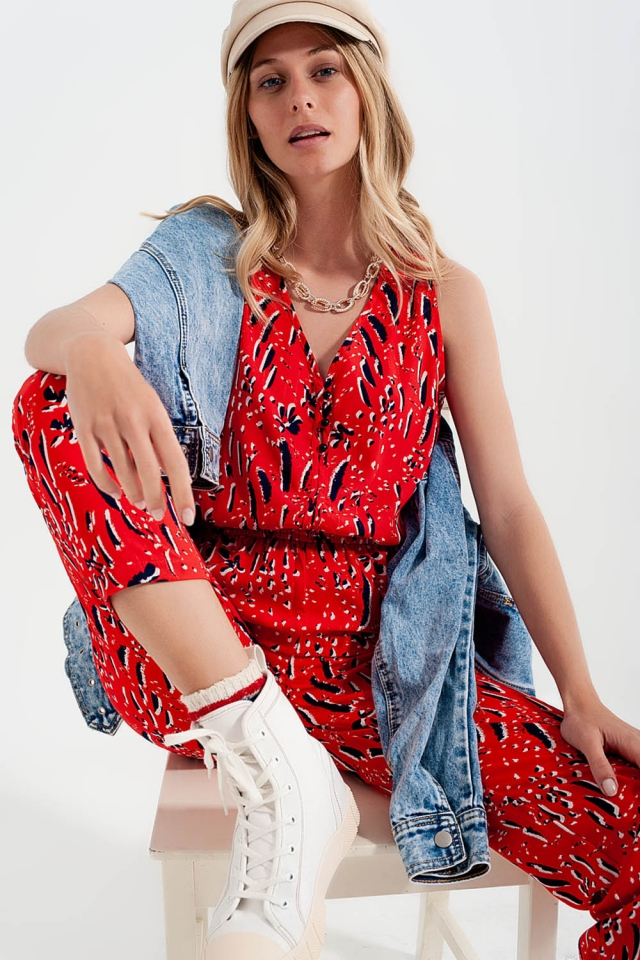 Mix Printed Jumpsuit in red