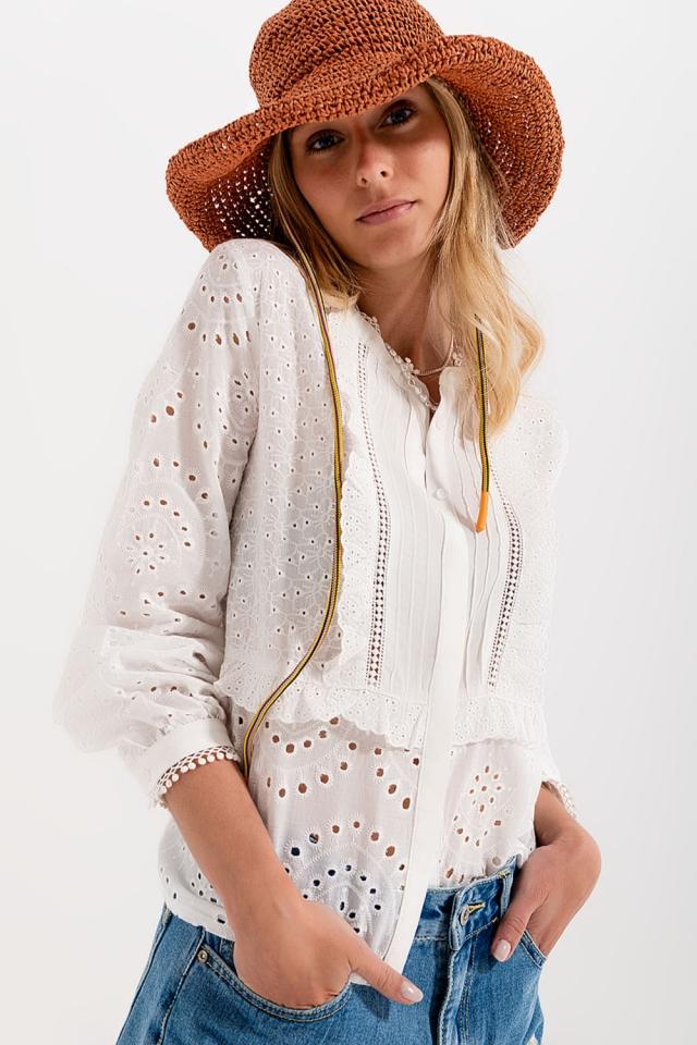 Bluse mit Stickerei und Hemdkragen in Weiß