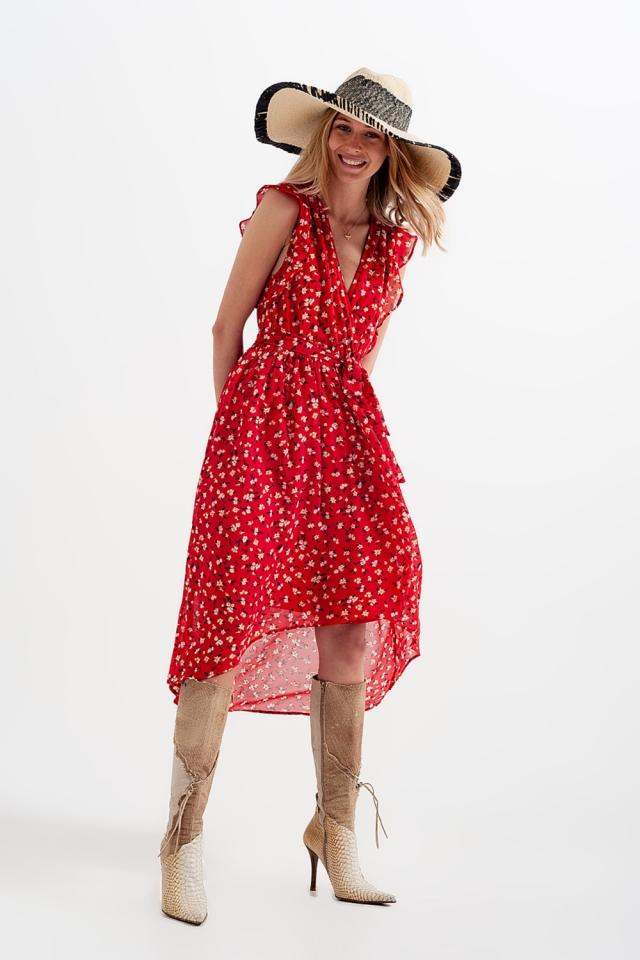 High low hem tie front dress in red ditsy floral print