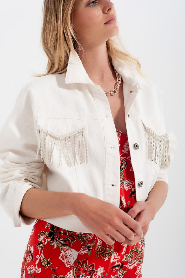 Denim jacket with diamante fringing in white