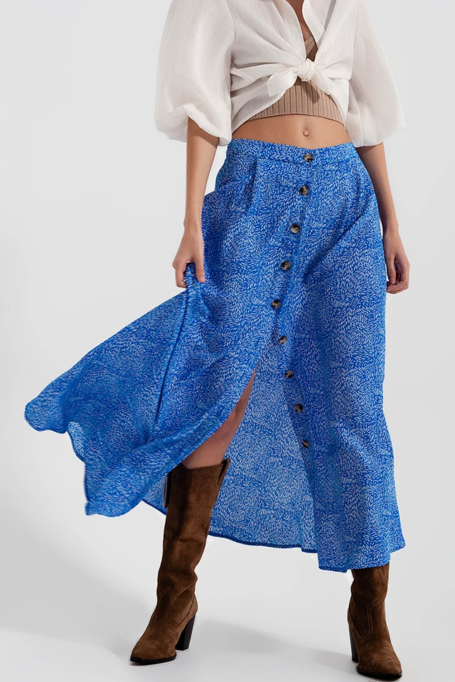 Button front midi skirt in blue