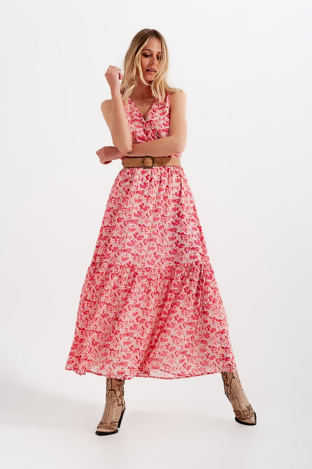Floral sleeveless maxi dress in pink