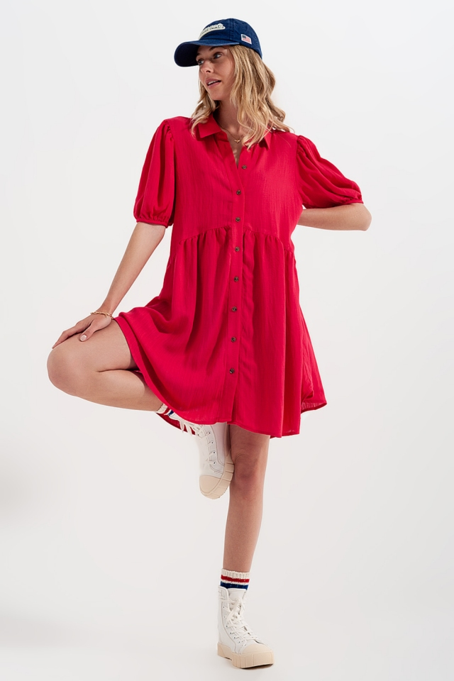 Smock mini shirt dress in red