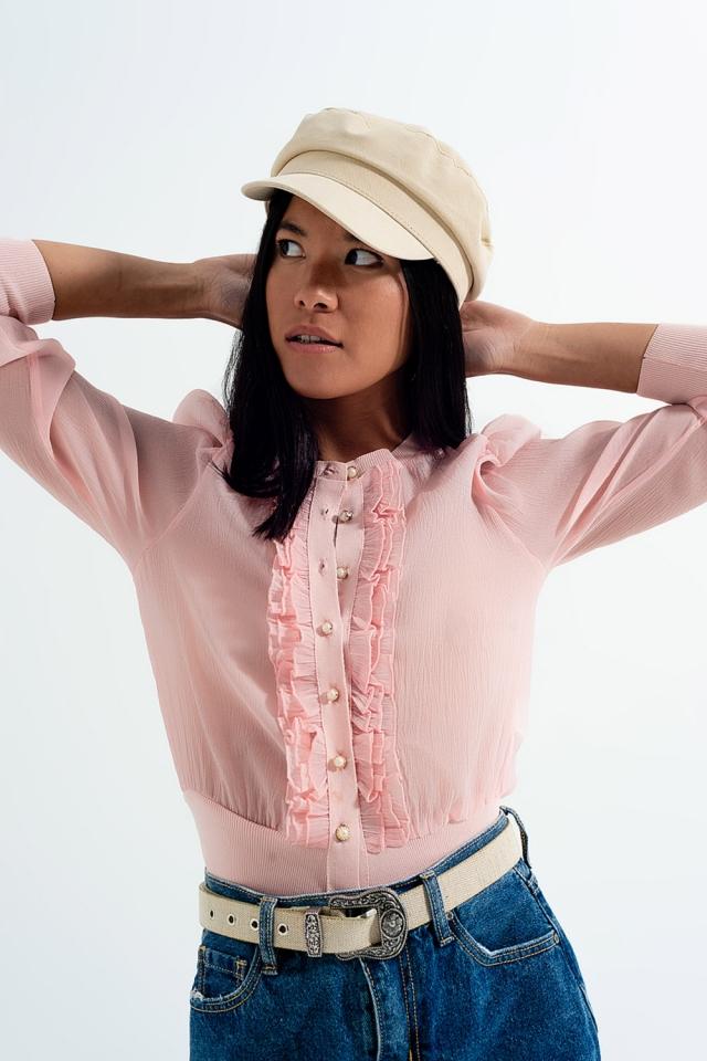 Ruffle front chiffon cardigan in pink