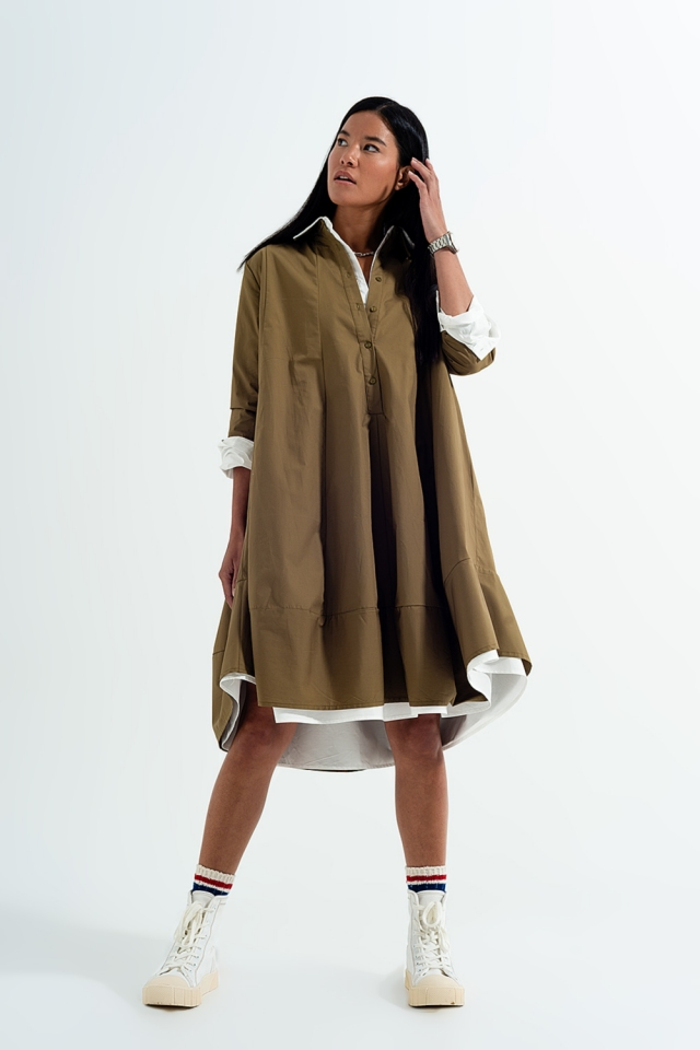 Oversized poplin shirt dress in khaki