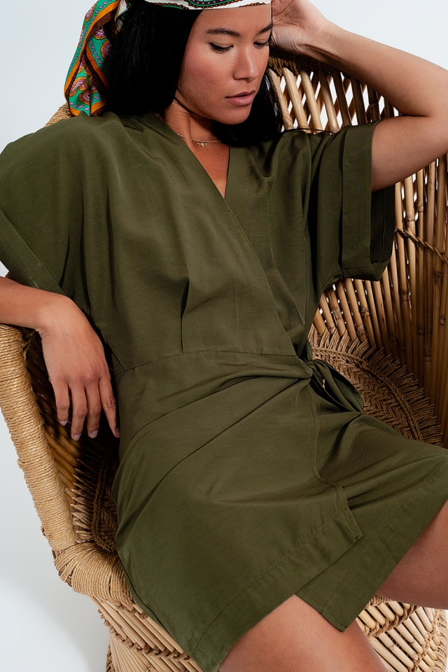 Short sleeve mini wrap dress in khaki