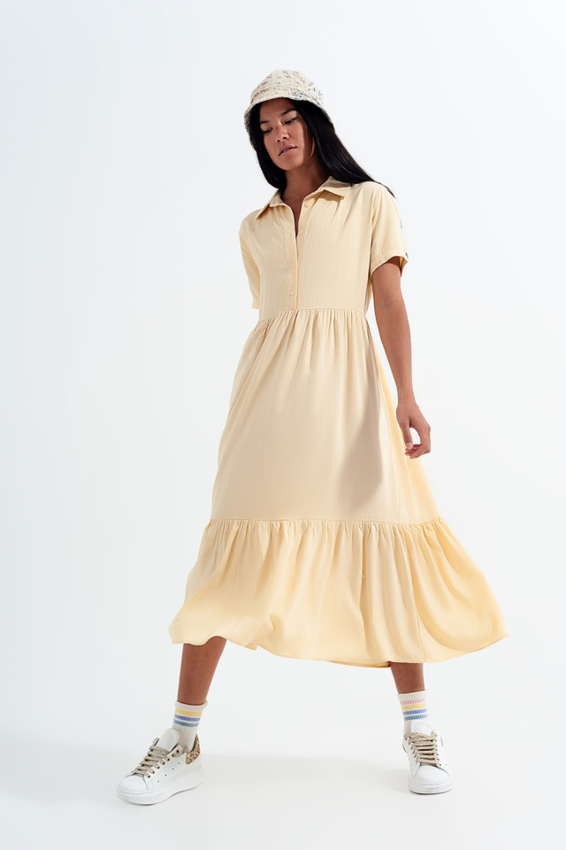 shirt dress with tiered hem in yellow