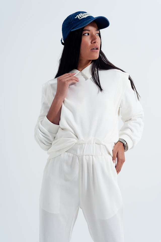 Boyfriend Sweatshirt mit Schulterdetails in weiß