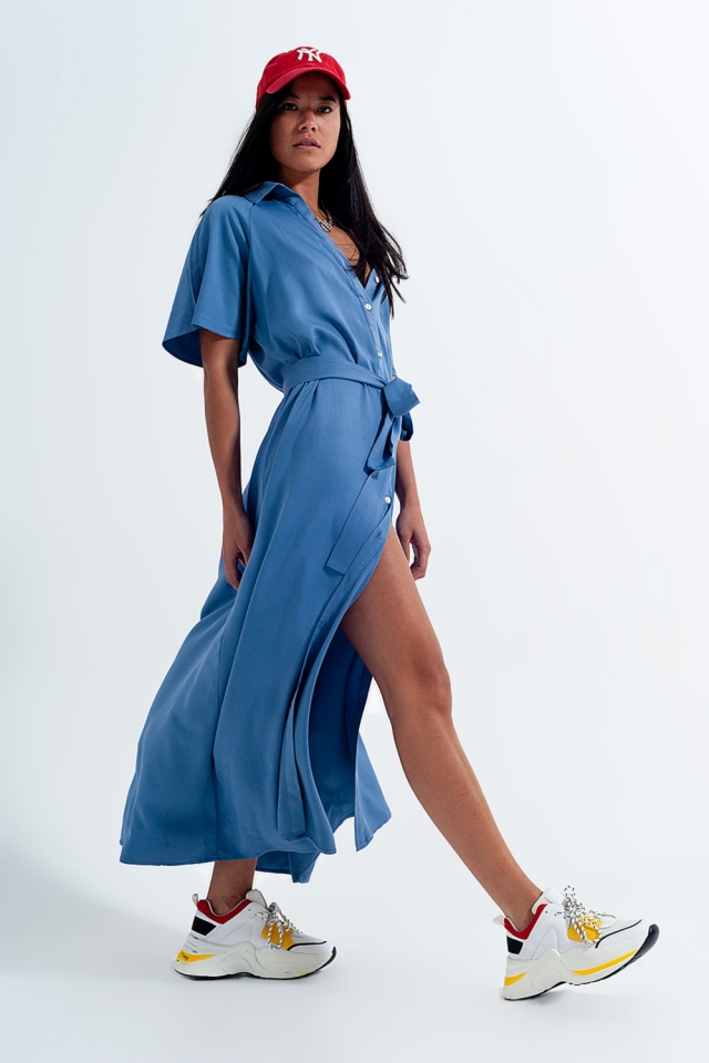Maxi button through shirt dress in blue