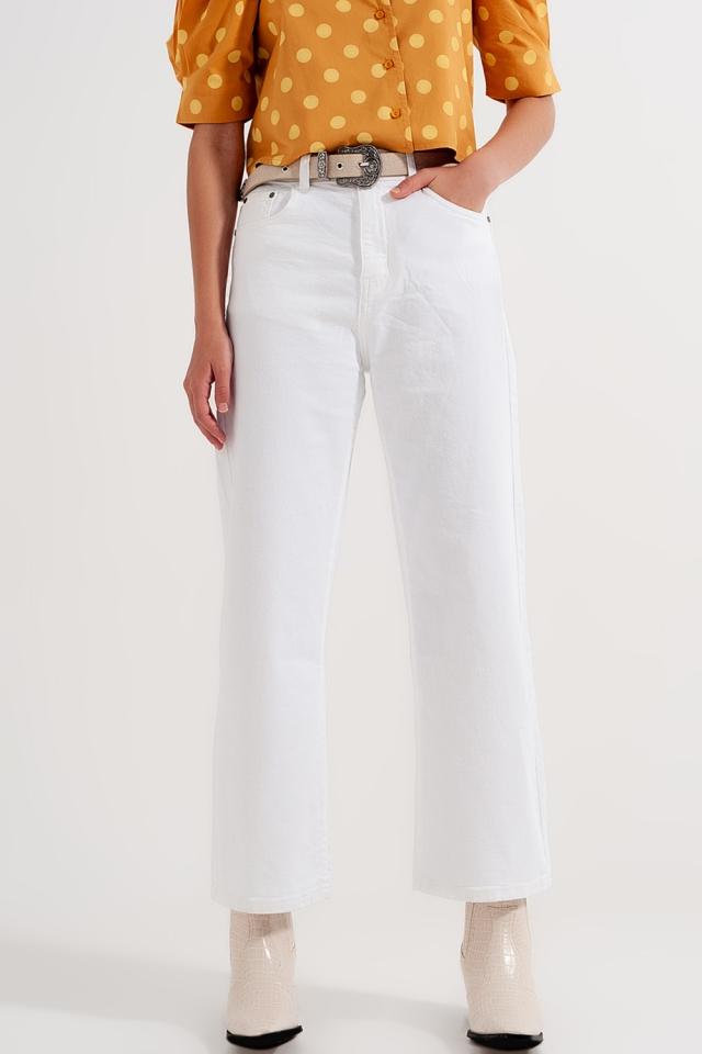 Knöchellange Straight Jeans in Weiß