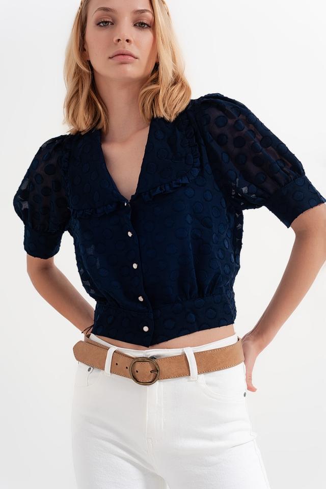 Marineblau Polka Dot Bluse mit Latzkragen und verschönerten Knöpfen