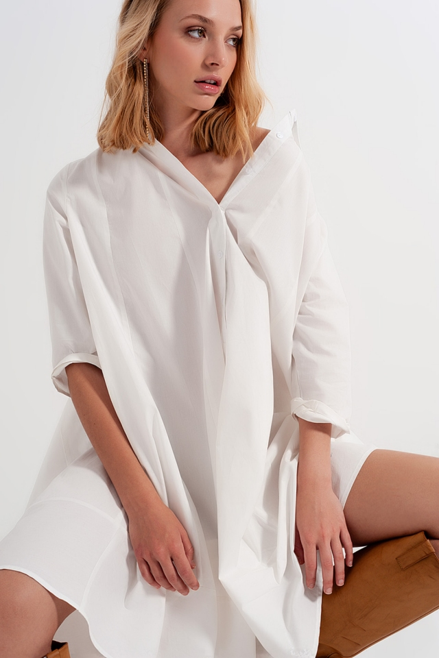 Oversized poplin shirt dress in white