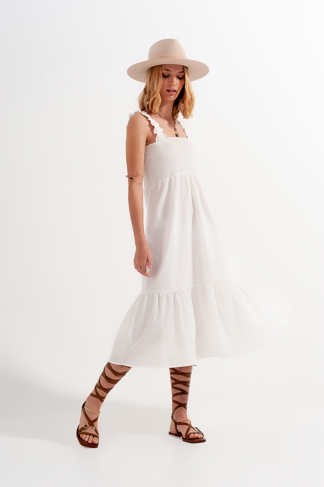 Shirred midi poplin sundress in white