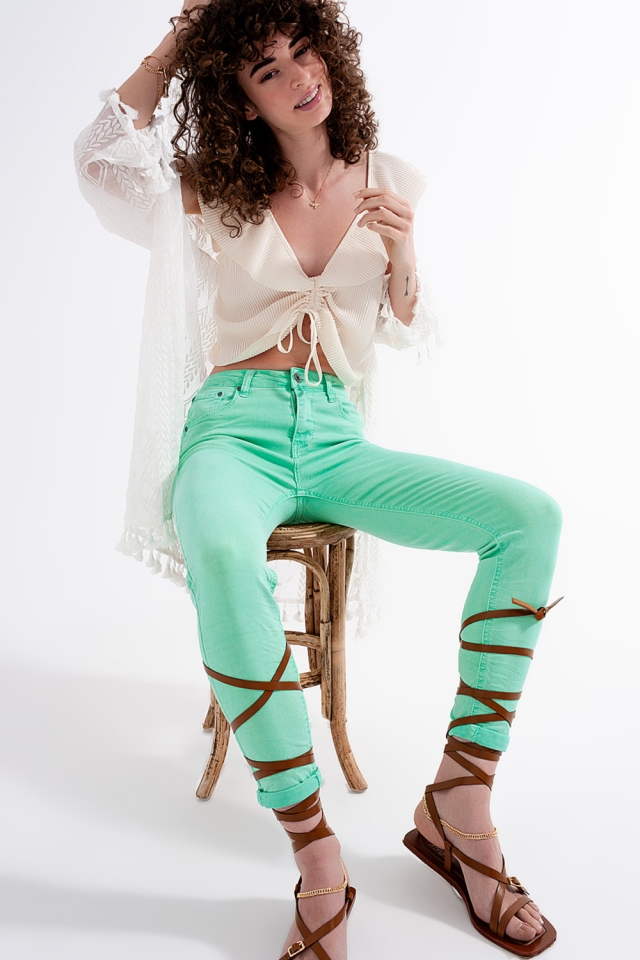 High waisted skinny jeans in pistachio
