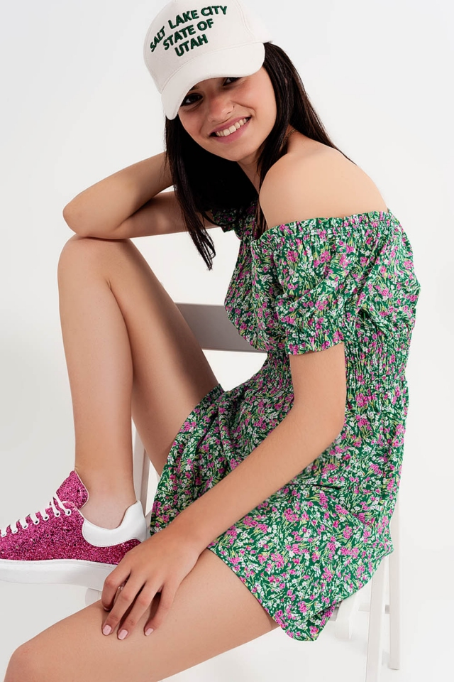 Mini dress with shirred detail in green ditsy floral print