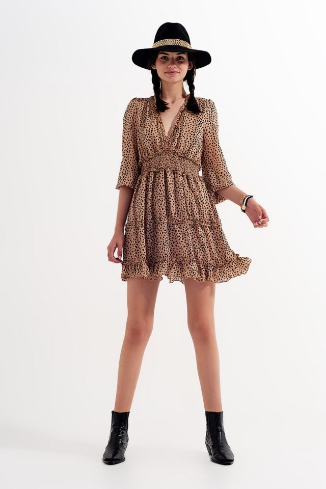 Shirred mini tiered smock dress with v neck in animal print Beige