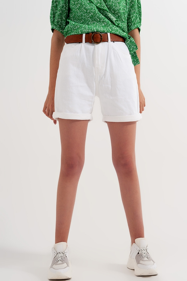 High rise shorts in white wash