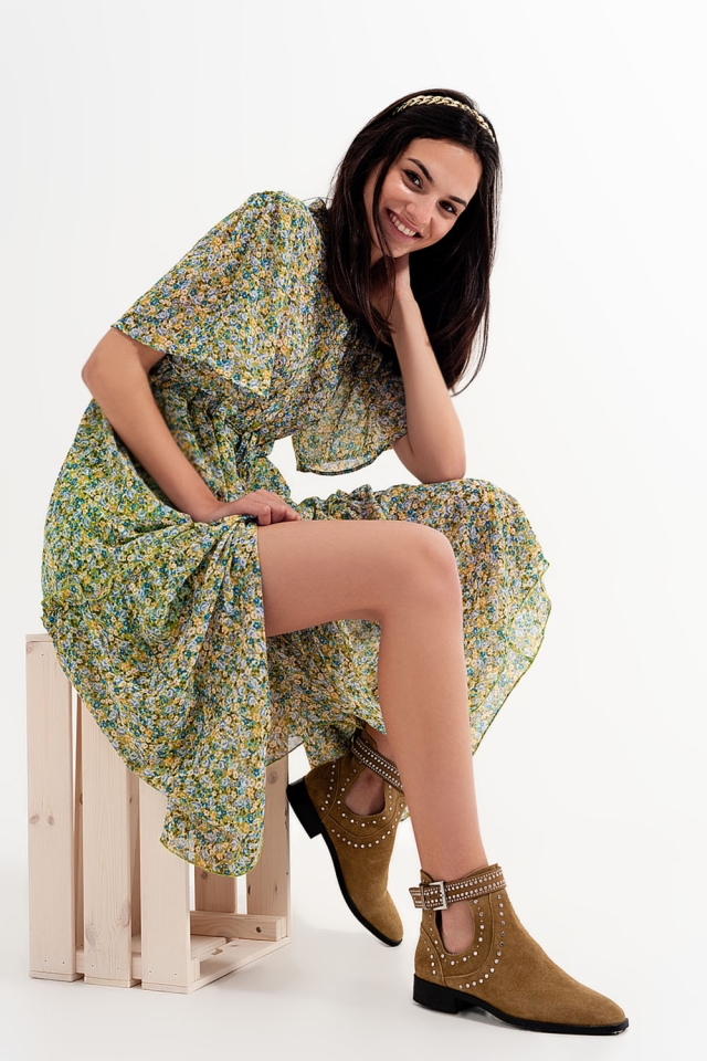 Tier hem midi dress in green mixed ditsy floral