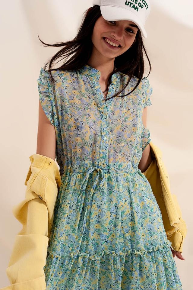 Kleid mit Rüschenbesatz und Vintage Blumenmuster Grün