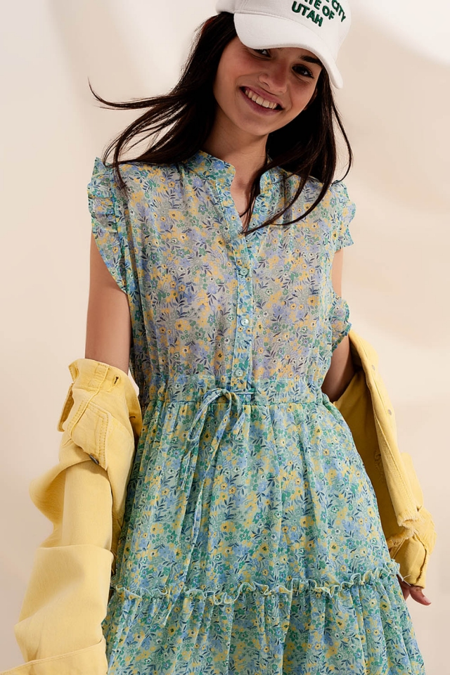 Mini dress with ruffle trims in vintage floral in green