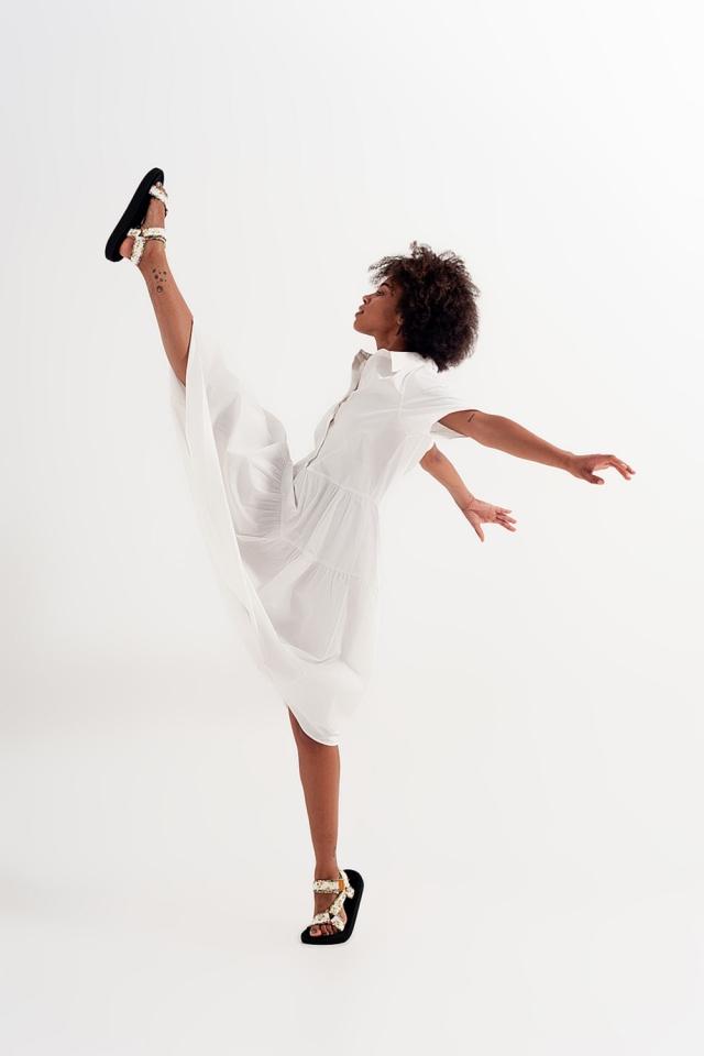 Shirt buttoned dress poplin short sleeve in white