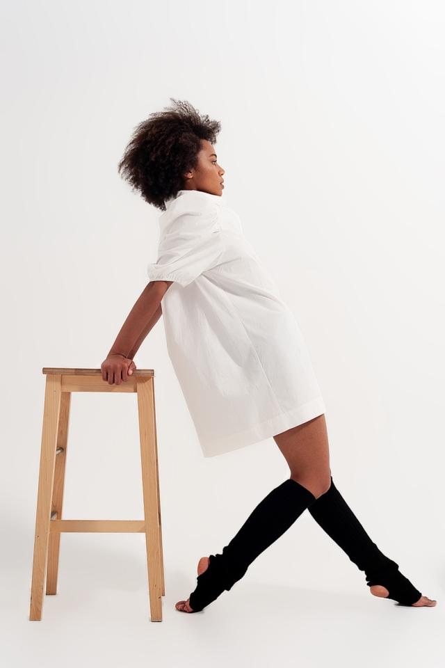 Smock mini shirt dress in white