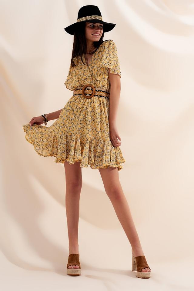 Wrap mini dress in yellow floral