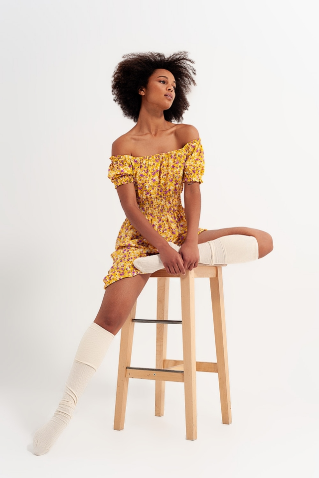 Mini dress with shirred detail in yellow ditsy floral print
