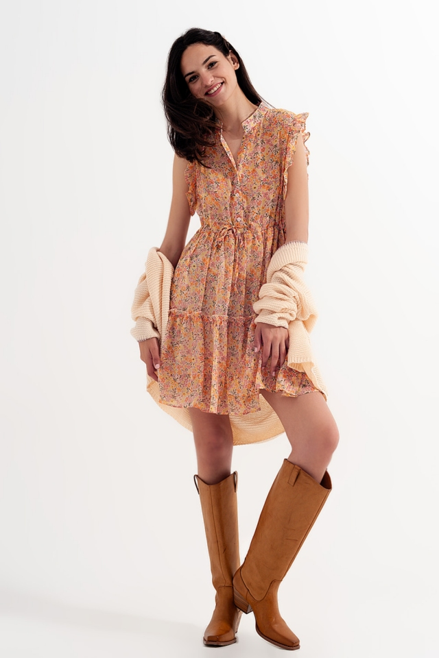 Mini dress with ruffle trims in vintage floral in coral