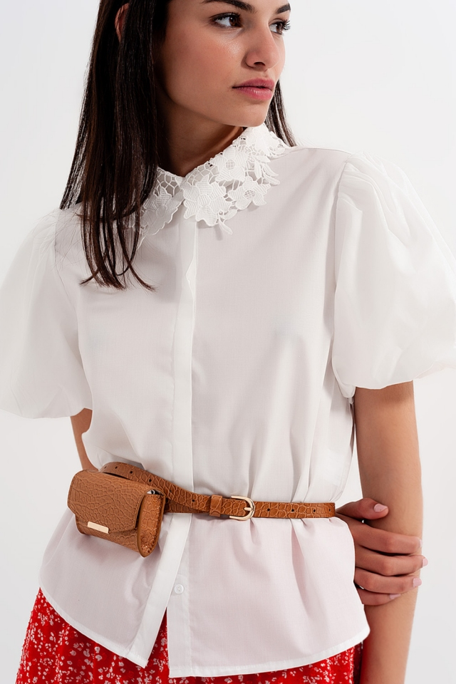 Crochet lace collared top in white