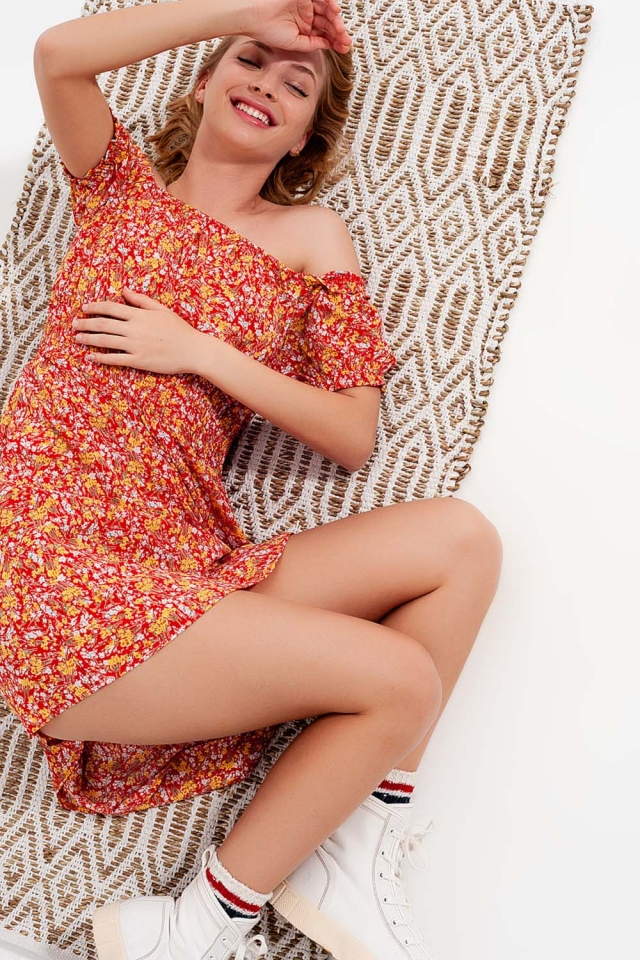 Mini dress with shirred detail in red ditsy floral print